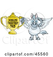 Pegasus Character Holding A Golden Worlds Greatest Dad Trophy