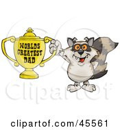 Raccoon Character Holding A Golden Worlds Greatest Dad Trophy