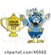 Peacock Bird Character Holding A Golden Worlds Greatest Dad Trophy