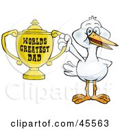 Stork Bird Character Holding A Golden Worlds Greatest Dad Trophy