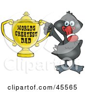 Black Swan Bird Character Holding A Golden Worlds Greatest Dad Trophy
