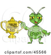 Royalty Free RF Clipart Illustration Of A Praying Mantis Character Holding A Golden Worlds Greatest Dad Trophy