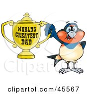 Royalty Free RF Clipart Illustration Of A Swallow Bird Character Holding A Golden Worlds Greatest Dad Trophy by Dennis Holmes Designs