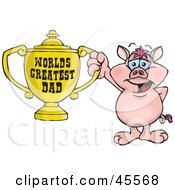 Royalty Free RF Clipart Illustration Of A Pig Character Holding A Golden Worlds Greatest Dad Trophy