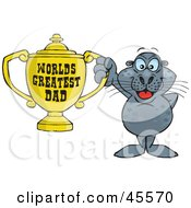 Seal Character Holding A Golden Worlds Greatest Dad Trophy