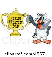 Royalty Free RF Clipart Illustration Of A Puffin Bird Character Holding A Golden Worlds Greatest Dad Trophy by Dennis Holmes Designs