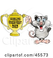 Royalty Free RF Clipart Illustration Of An Opossum Character Holding A Golden Worlds Greatest Dad Trophy by Dennis Holmes Designs