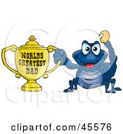 Royalty Free RF Clipart Illustration Of A Scorpion Character Holding A Golden Worlds Greatest Dad Trophy by Dennis Holmes Designs