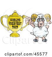 Royalty Free RF Clipart Illustration Of A Ram Character Holding A Golden Worlds Greatest Dad Trophy by Dennis Holmes Designs
