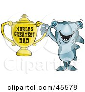 Royalty Free RF Clipart Illustration Of A Hammerhead Shark Character Holding A Golden Worlds Greatest Dad Trophy by Dennis Holmes Designs