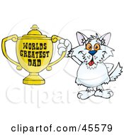 Royalty Free RF Clipart Illustration Of A Terrier Dog Character Holding A Golden Worlds Greatest Dad Trophy by Dennis Holmes Designs