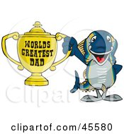Royalty Free RF Clipart Illustration Of A Tuna Fish Character Holding A Golden Worlds Greatest Dad Trophy by Dennis Holmes Designs