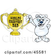 Royalty Free RF Clipart Illustration Of A Polar Bear Character Holding A Golden Worlds Greatest Dad Trophy by Dennis Holmes Designs