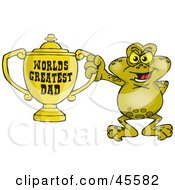 Toad Character Holding A Golden Worlds Greatest Dad Trophy