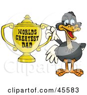 Ostrich Bird Character Holding A Golden Worlds Greatest Dad Trophy