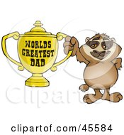 Royalty Free RF Clipart Illustration Of A Sloth Character Holding A Golden Worlds Greatest Dad Trophy by Dennis Holmes Designs