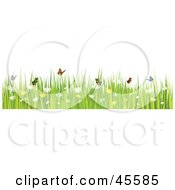 Border Of Butterflies With Grass And Spring Flowers On White