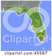 Royalty Free RF Clipart Illustration Of A Shaded Relief Map Of The State Of Florida by Michael Schmeling