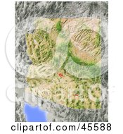 Royalty Free RF Clipart Illustration Of A Shaded Relief Map Of The State Of Arizona by Michael Schmeling