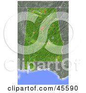 Royalty Free RF Clipart Illustration Of A Shaded Relief Map Of The State Of Alabama
