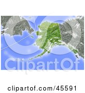 Royalty Free RF Clipart Illustration Of A Shaded Relief Map Of The State Of Alaska by Michael Schmeling