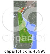 Royalty Free RF Clipart Illustration Of A Shaded Relief Map Of The State Of Delaware