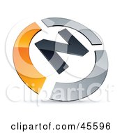 Royalty Free RF Clipart Illustration Of A Pre Made Orange And Chrome N Logo