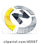 Royalty Free RF Clipart Illustration Of A Pre Made Yellow And Chrome N Logo