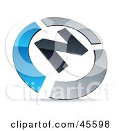 Royalty Free RF Clipart Illustration Of A Pre Made Blue And Chrome N Logo