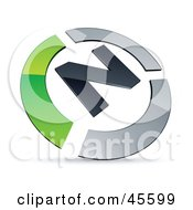 Royalty Free RF Clipart Illustration Of A Pre Made Green And Chrome N Logo