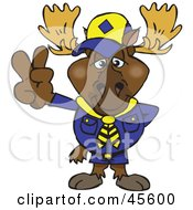 Royalty Free RF Clipart Illustration Of A Peaceful Scout Moose Smiling And Gesturing The Peace Sign by Dennis Holmes Designs