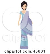 Royalty Free RF Clipart Illustration Of A Beautiful Bollywood Indian Woman In A Blue Dress With A Saree