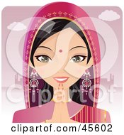 Royalty Free RF Clipart Illustration Of A Beautiful Hindu Indian Praying In Front Of A Building