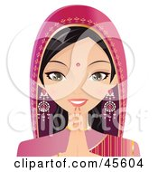 Royalty Free RF Clipart Illustration Of A Pretty Indian Woman In Pink Holding Her Hands To Her Chin