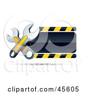 Clipart Illustration Of A Blank Construction Sign With Two Wrenches