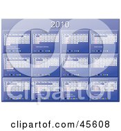 Royalty Free RF Clipart Illustration Of A Horizontal Blue 2010 Yearly Calendar With Week Days Starting On Sunday