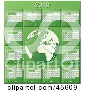 Royalty Free RF Clipart Illustration Of A Green And White 2010 Yearly Calendar With A Globe by Michael Schmeling