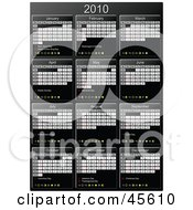 Royalty Free RF Clipart Illustration Of A Vertical Black And White 2010 Yearly Calendar