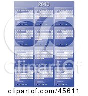 Royalty Free RF Clipart Illustration Of A Vertical Blue 2010 Yearly Calendar With Week Days Starting On Sunday