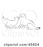 Black And White Sketch Outline Of A Kitten Kissing A Puppy On The Nose