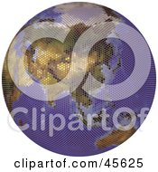 Royalty Free RF Clipart Illustration Of A Textured Globe Featuring Asia