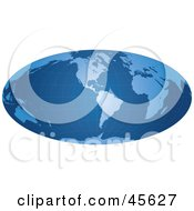 Royalty Free RF Clipart Illustration Of A Blue Grid Hammer Projection Map Featuring America