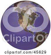 Royalty Free RF Clipart Illustration Of A Textured Globe Featuring America by Michael Schmeling