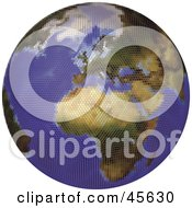 Royalty Free RF Clipart Illustration Of A Textured Globe Featuring Europe