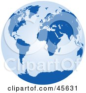 Royalty Free RF Clipart Illustration Of A Light And Dark Blue Globe by Michael Schmeling