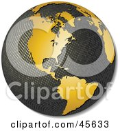 3d Textured Globe With Golden Continents Featuring America