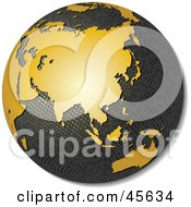 3d Textured Globe With Golden Continents Featuring Asia