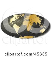 3d Textured Hammer Projection Globe Featuring Golden Continents