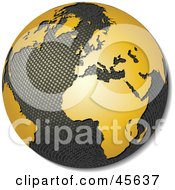 Royalty-free (RF) Clipart Illustration of a 3d Textured Globe With Golden Continents, Featuring Africa by Michael Schmeling #COLLC45637-0128