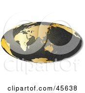 Royalty Free RF Clipart Illustration Of A 3d Textured Hammer Projection Globe Featuring Asia